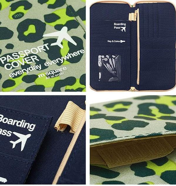 Дорожный органайзер для денег, документов, посадочных талонов, билетов, телефона и паспортов зеленый леопард фото детали качества