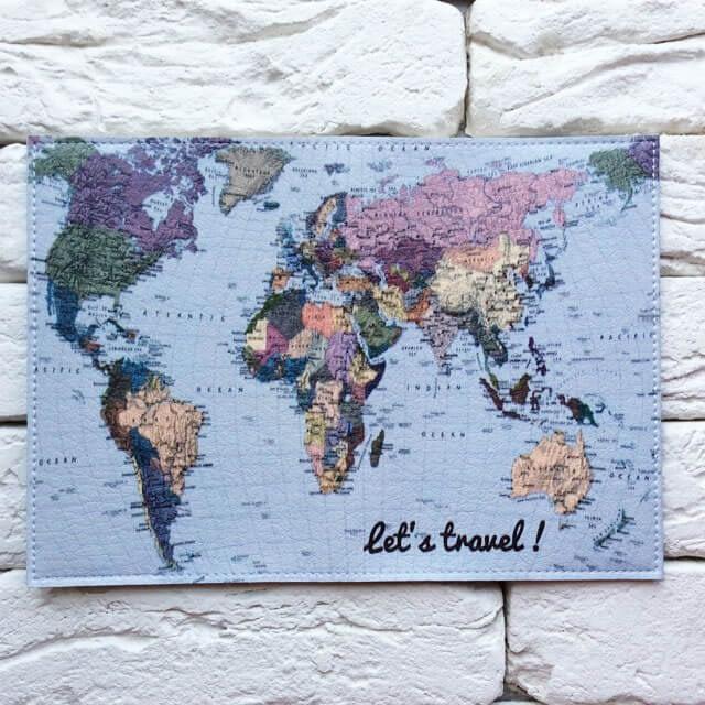 Фото разворот паспортной обложки Lets travel Карта голубая. Коллекция обложек Путешествуй!