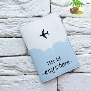 Главное фото паспортная обложка Take me anywhere blue. Коллекция обложек Путешествуй!