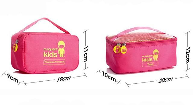 MS-001K Фото 1 размеры элементов розовый детский набор сумок из 4х элементов. Товары для отдыха интернет-магазин В Отпуск