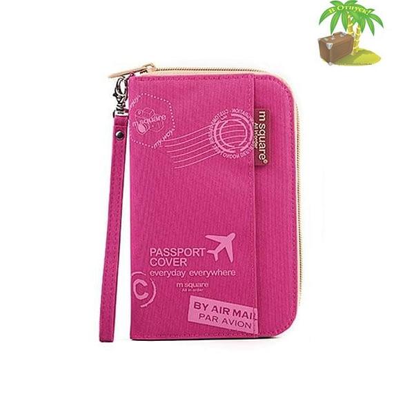 DOP-049 Компактный органайзер для документов, посадочных талонов, билетов, купюр и паспортов розовый с принтом главное фото