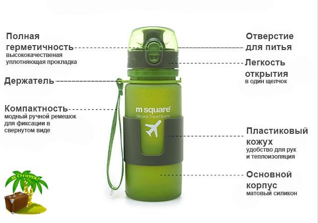 Фото преимущества зеленой сворачивающейся бутылки для воды на 350мл размер S. Товары для отдыха. Интернет-магазин В Отпуск