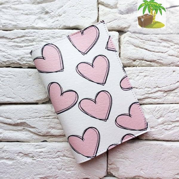 Главное фото паспортная обложка Розовые сердечки. Коллекция обложек для загранпаспорта Сердечки!