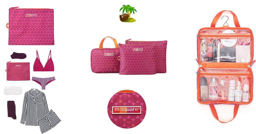 Фото для соцсетей подарок для свекрови розовый. Набор косметичка с вешалкой и мешочки на молнии