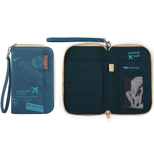 DOP-052 Компактный органайзер для документов, посадочных талонов, билетов, купюр и паспортов синий с принтом фото в развороте