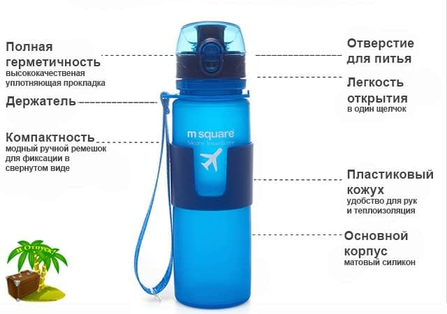 Фото преимущества голубой сворачивающейся бутылки для воды на 500мл размер L. Товары для отдыха. Интернет-магазин В Отпуск