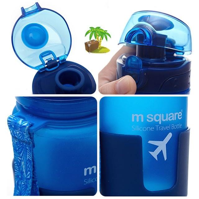 Фото деталей качества голубой силиконовой бутылки для воды. Товары для отдыха. Интернет-магазин В Отпуск