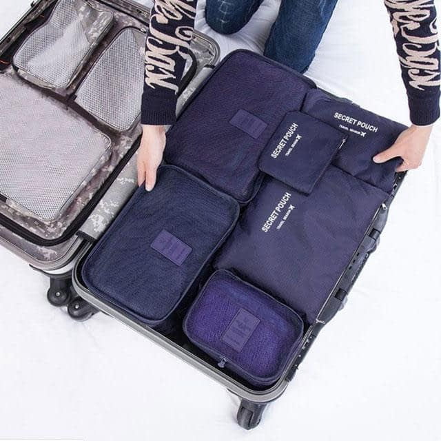 DS-10S Фото упаковка разными размерами сумочек синего набора из 6шт. сумочек. Товары для отдыха. Интернет-магазин В Отпуск