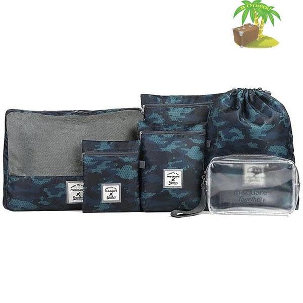 DS-002MS Набор 6шт. сумочек в чемодан синий узор главное фото. Товары для отдыха. Интернет-магазин В Отпуск