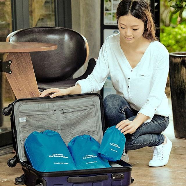MS-016 Набор голубых водонепроницаемых мешочков для белья фото в чемодане. Товары для отдыха. Интернет-магазин В Отпуск