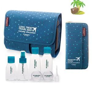 Главное фото синий в горошек подарочный набор: косметичка, органайзер и набор бутылочек. Товары для отдыха. Интернет-магазин В Отпуск