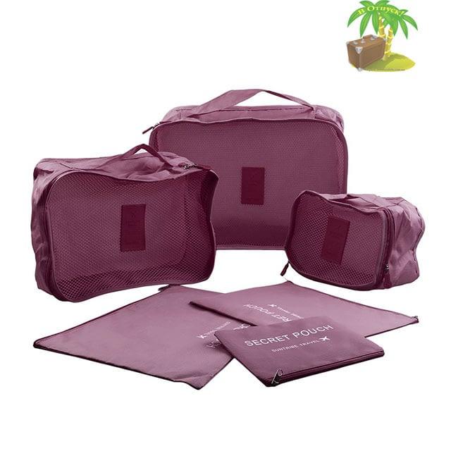DS-08B Малый набор сумочек в чемодан бордовый фото полного комплекта. Товары для отдыха. Интернет-магазин В Отпуск