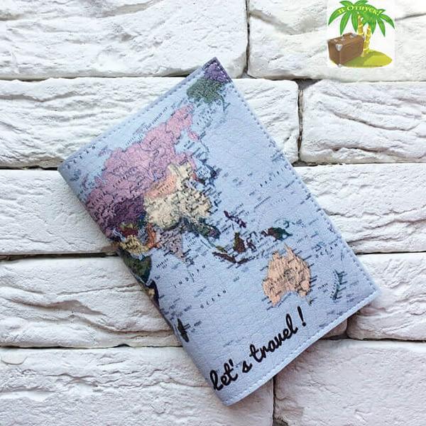 Главное фото паспортная обложка Lets travel Карта голубая. Коллекция обложек Путешествуй!