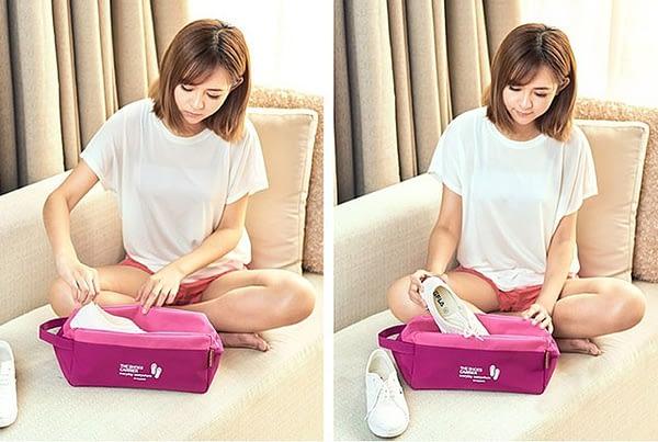 Фото девушки с розовым тканевым чехлом для обуви. Товары для отдыха. Интернет-магазин В Отпуск