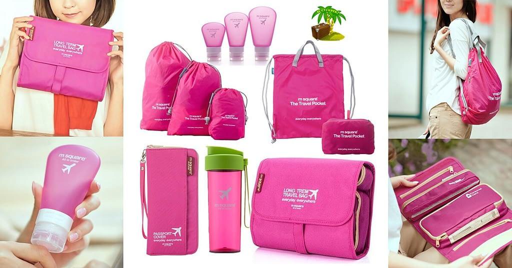 Фото для соцсетей большой розовый подарочный набор. Органайзер, косметичка, мешочки для белья, легкий рюкзак, емкости для косметики и бутылочка для воды