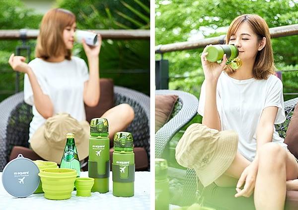 Фото использование зеленой силиконовой бутылочкой для воды. Товары для отдыха. Интернет-магазин В Отпуск
