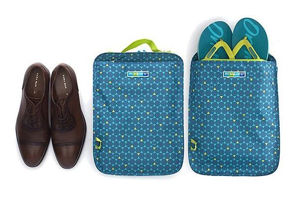 Фото лицо и оборот голубого в ромбик чехла для обуви. Товары для отдыха. Интернет-магазин В Отпуск