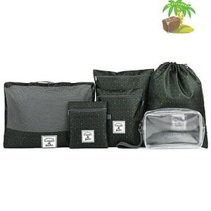 DS-003MS Набор 6шт. сумочек в чемодан зеленый узор главное фото. Товары для отдыха. Интернет-магазин В Отпуск