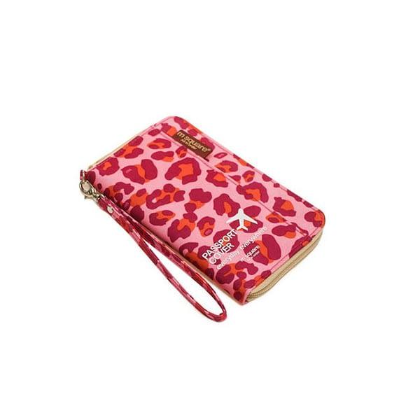 DOP-029 Компактный органайзер для документов, посадочных талонов, билетов, купюр и паспортов розовый леопард фото сбоку