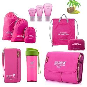 Главное фото большой розовый подарочный набор. Органайзер, косметичка, мешочки для белья, легкий рюкзак, емкости для косметики и бутылочка для воды