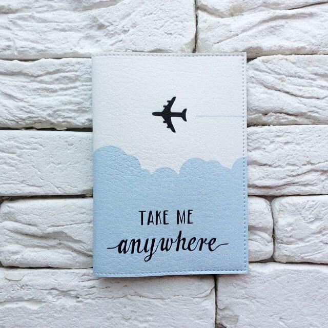 Фото анфас паспортная обложка Take me anywhere blue. Коллекция обложек Путешествуй!