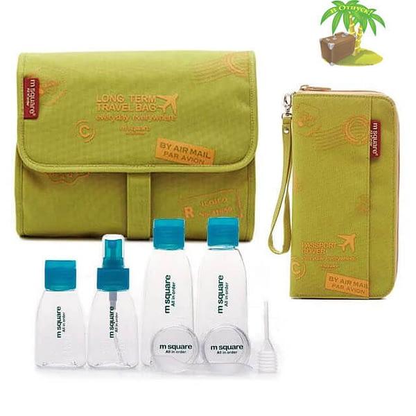 Главное фото зеленый с принтом подарочный набор: косметичка, органайзер и набор бутылочек. Товары для отдыха. Интернет-магазин В Отпуск