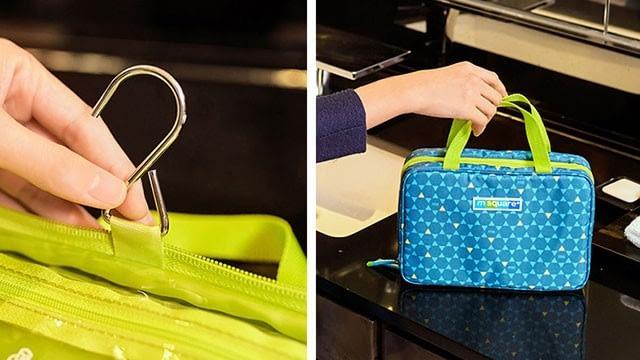 Жанровые фото использования синей косметички с вешалкой в ромбик. Интернет-магазин В Отпуск