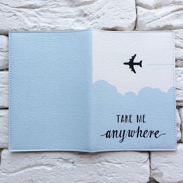 Фото разворот паспортной обложки Take me anywhere blue. Коллекция обложек Путешествуй!