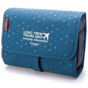 Фото Косметичка-трансформер из текстиля палитра - синяя в горошек