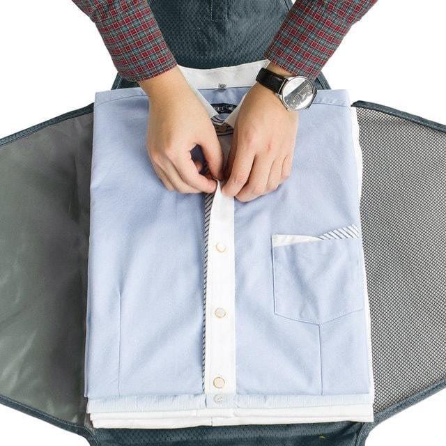 PO-04 Серый органайзер для рубашек, юбок и брюк. Фото 1 упаковка рубашки. Товары для отдыха. Интернет-магазин В Отпуск