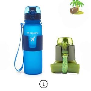 Главное фото голубая бутылка для воды из мягкого силикона размер L 500мл. Товары для отдыха. Интернет-магазин В Отпуск