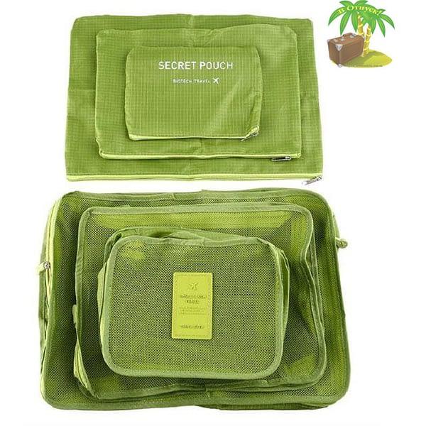 DS-12SR Фото свернутый комплект зеленого набора сумочек в чемодан. Товары для отдыха. Интернет-магазин В Отпуск