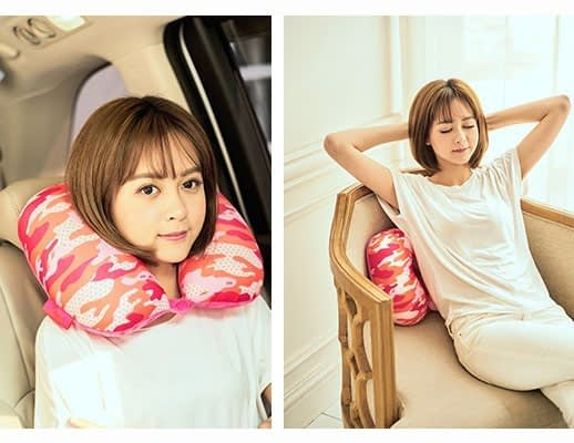 MS-060 Дорожная подушка милитари розовая фото использования 3. Товары для отдыха. Интернет-магазин В Отпуск!