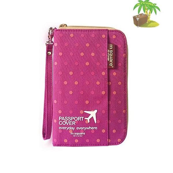 DOP-045 Компактный органайзер для документов, посадочных талонов, билетов, купюр и паспортов розовый горошек главное фото
