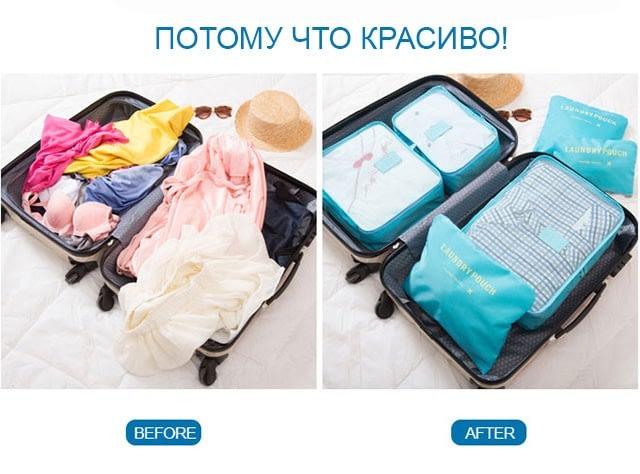 Фото хорошо упакованная сумка с помощью специального набора сумочек в чемодан
