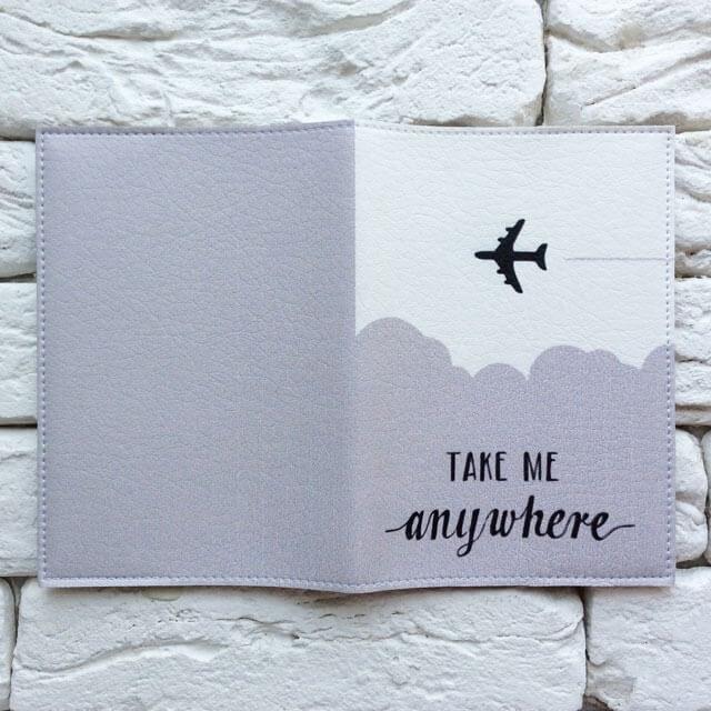 Фото разворот паспортной обложки Take me anywhere gray. Коллекция обложек Путешествуй!