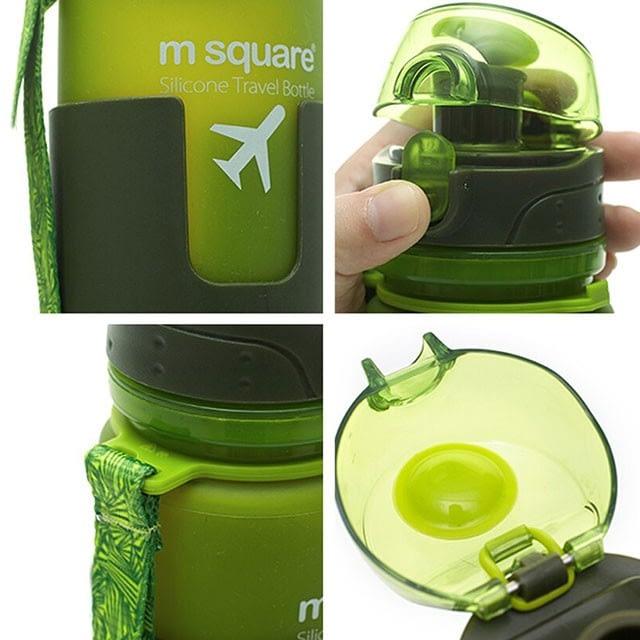 Фото деталей качества зеленой силиконовой бутылки для воды. Товары для отдыха. Интернет-магазин В Отпуск