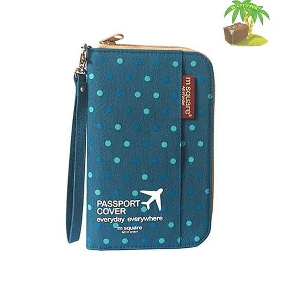 DOP-046 Компактный органайзер для документов, посадочных талонов, билетов, купюр и паспортов синий в горошек главное фото
