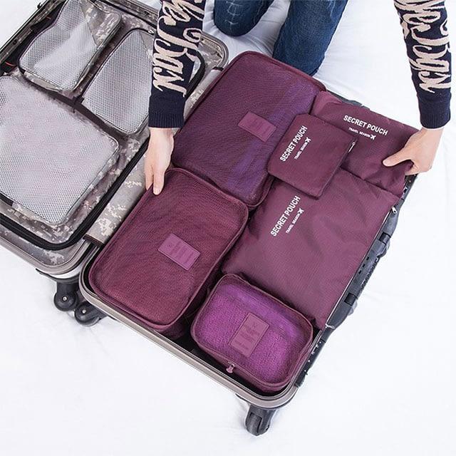 DS-08B Фото упаковка разными размерами сумочек бордового набора из 6шт. сумочек. Товары для отдыха. Интернет-магазин В Отпуск