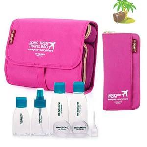 Главное фото розовый подарочный набор: косметичка, органайзер и набор бутылочек. Товары для отдыха. Интернет-магазин В Отпуск