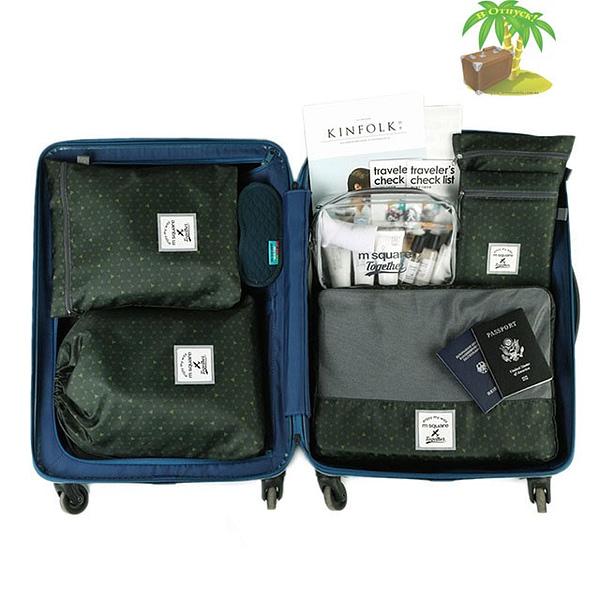 DS-003MS Набор 6шт. сумочек в чемодан зеленый узор фото 1. Товары для отдыха. Интернет-магазин В Отпуск
