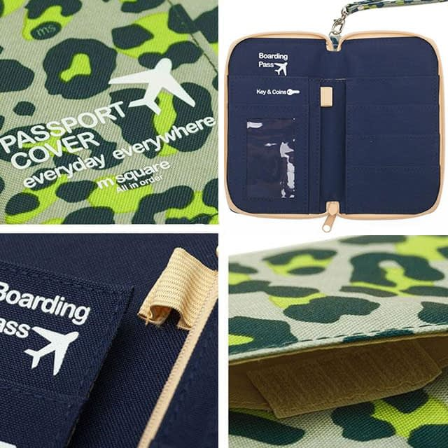 DOP-043 Компактный органайзер для документов, посадочных талонов, билетов, купюр и паспортов зеленый леопард фото детали качества