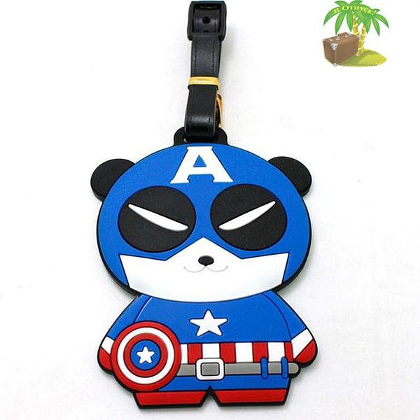 """ВВ-11 Бирка для багажа Панда Капитан Америка фото анфас товары для путешественников интернет-магазин """"В Отпуск"""" от SeredinaLeta"""