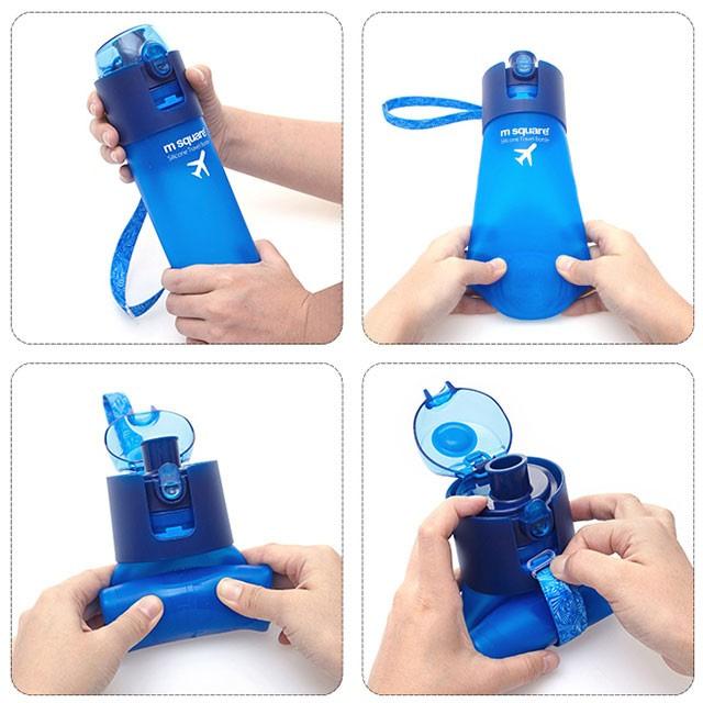 Фото схема складывания силиконовой бутылки для воды. Товары для отдыха. Интернет-магазин В Отпуск