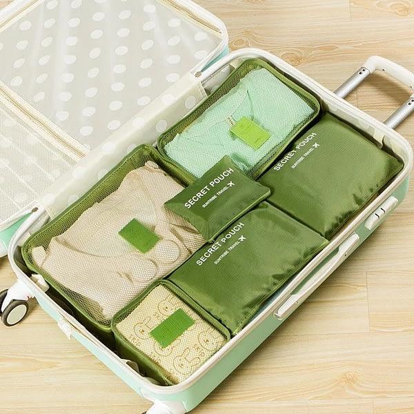 DS-12SR Фото чемодана с вещами в зеленом наборе из 6шт. сумочек. Товары для отдыха. Интернет-магазин В Отпуск