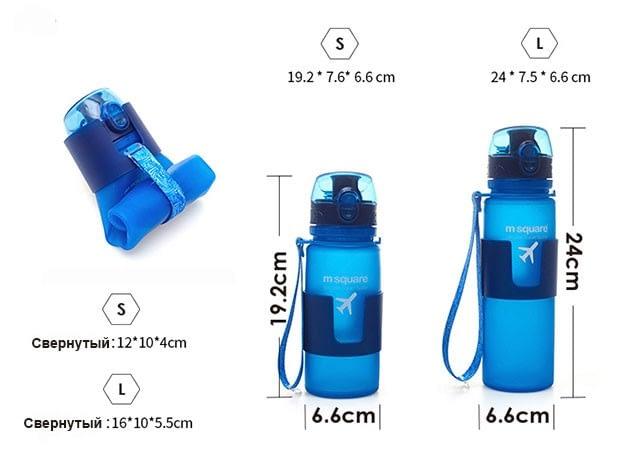 Фото размеры сворачивающихся силиконовых бутылочек для воды емкостью 350мл и 500мл