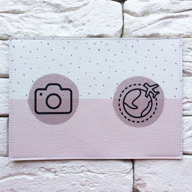 Фото разворот паспортная обложка Вокруг земли розовая. Коллекция обложек Путешествуй!