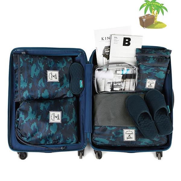 DS-002MS Набор 6шт. сумочек в чемодан синий узор фото 1. Товары для отдыха. Интернет-магазин В Отпуск