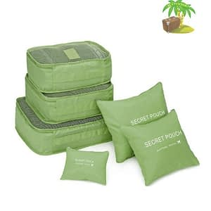 DS-12SR Главное фото малый набор 6шт. тканевых сумочек в чемодан зеленого цвета. Товары для отдыха. Интернет-магазин В Отпуск