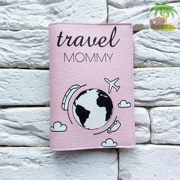 Обложка на паспорт Travel Mommy розовая арт 119 Фото 3